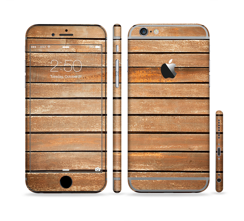 The Worn Wooden Panks Sectioned Skin Series for the Apple iPhone 6/6s Plus