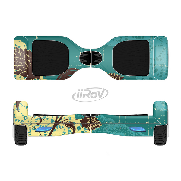 The Yellow Lace and Flower on Teal Full-Body Skin Set for the Smart Drifting SuperCharged iiRov HoverBoard