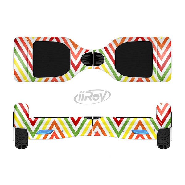 The Yellow & Red Vintage Chevron Pattern Full-Body Skin Set for the Smart Drifting SuperCharged iiRov HoverBoard