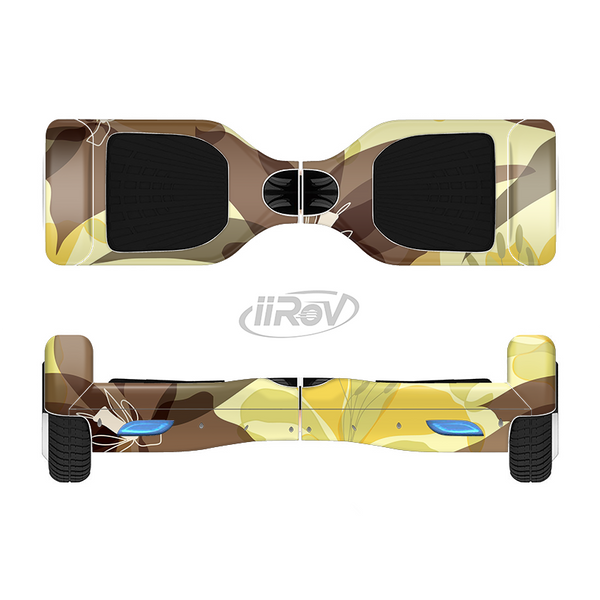The Yellow and Brown Pastel Flowers Full-Body Skin Set for the Smart Drifting SuperCharged iiRov HoverBoard
