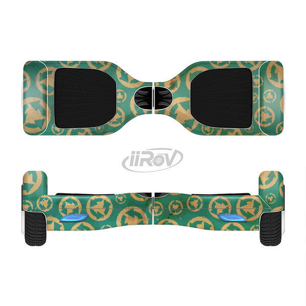 The Yellow and Green Recycle Pattern Full-Body Skin Set for the Smart Drifting SuperCharged iiRov HoverBoard