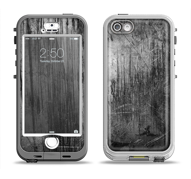 The Grunge Scratched Metal Apple iPhone 5-5s LifeProof Nuud Case Skin Set