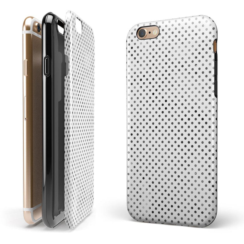 Tiny Black Watercolor Polka Dots iPhone 6/6s or 6/6s Plus 2-Piece Hybrid INK-Fuzed Case