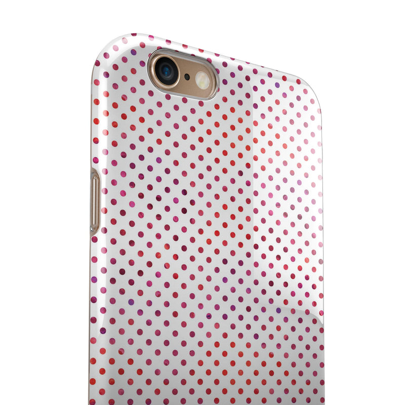 Tiny Red and Purple Watercolor Polka Dots iPhone 6/6s or 6/6s Plus 2-Piece Hybrid INK-Fuzed Case
