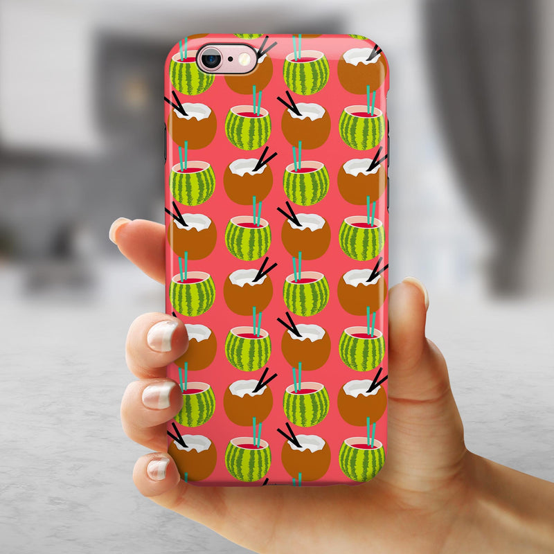 Tropical Coconut Twist v8 iPhone 6/6s or 6/6s Plus 2-Piece Hybrid INK-Fuzed Case