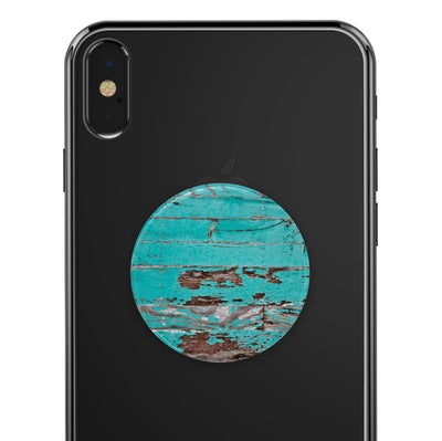Turquoise Chipped Paint on Wood - Skin Kit for PopSockets and other Smartphone Extendable Grips & Stands