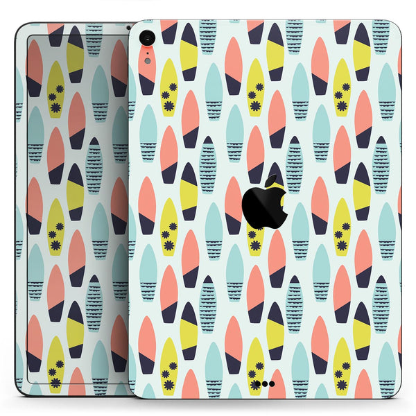 "Vibrant Colored Surfboard Pattern - Full Body Skin Decal for the Apple iPad Pro 12.9"", 11"", 10.5"", 9.7"", Air or Mini (All Models Available)"
