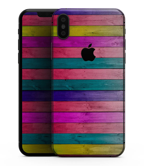 Vibrant Neon Colored Wood Strips - iPhone XS MAX, XS/X, 8/8+, 7/7+, 5/5S/SE Skin-Kit (All iPhones Avaiable)