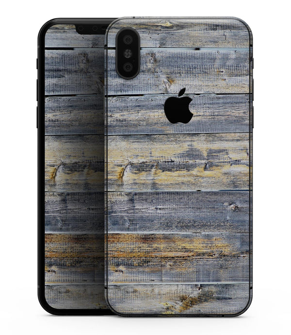 Vintage Wooden Planks with Yellow Paint - iPhone XS MAX, XS/X, 8/8+, 7/7+, 5/5S/SE Skin-Kit (All iPhones Avaiable)