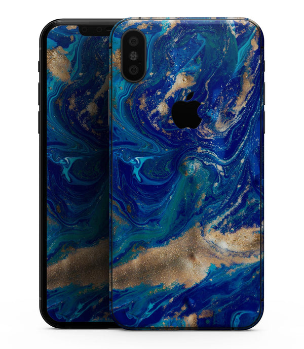 Vivid Blue Gold Acrylic - iPhone XS MAX, XS/X, 8/8+, 7/7+, 5/5S/SE Skin-Kit (All iPhones Avaiable)