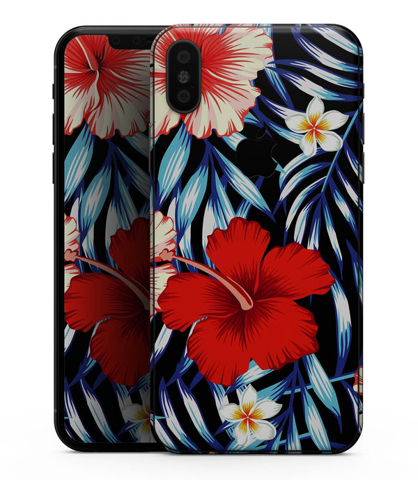 Vivid Tropical Red Floral v1 - iPhone XS MAX, XS/X, 8/8+, 7/7+, 5/5S/SE Skin-Kit (All iPhones Avaiable)