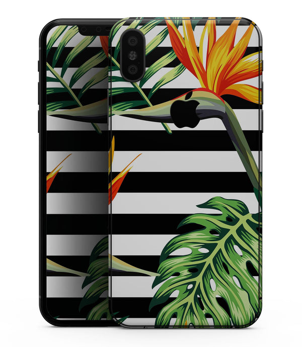 Vivid Tropical Stripe Floral v1 - iPhone XS MAX, XS/X, 8/8+, 7/7+, 5/5S/SE Skin-Kit (All iPhones Avaiable)