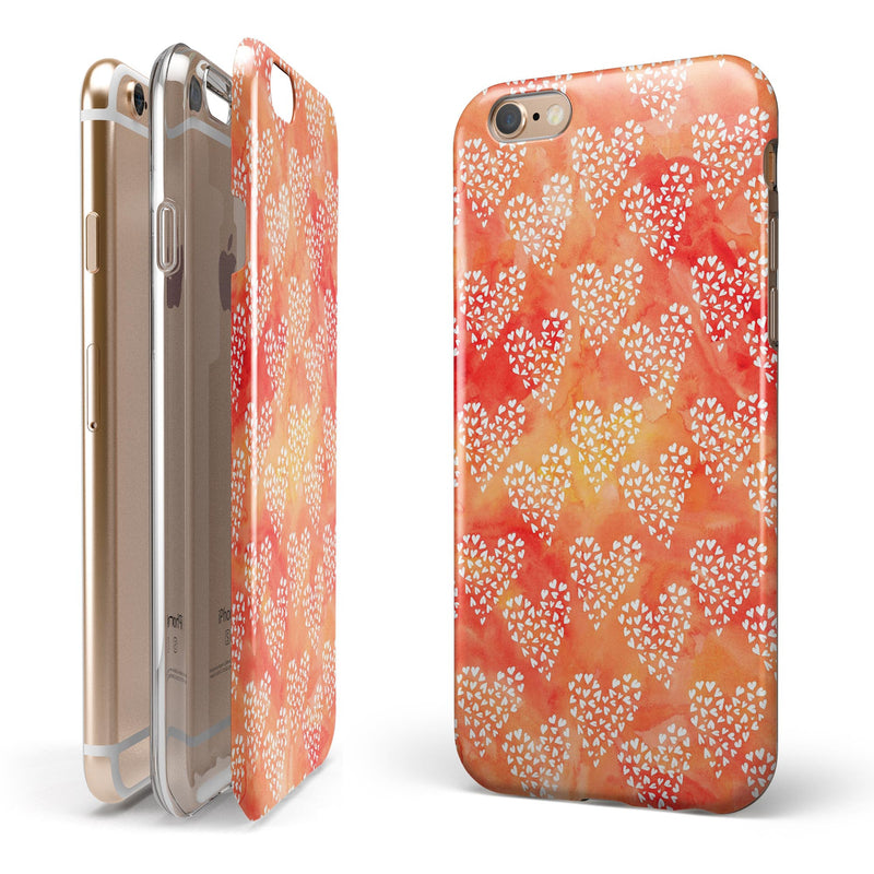 Watercolored Fire with White Tiny Hearts iPhone 6/6s or 6/6s Plus 2-Piece Hybrid INK-Fuzed Case