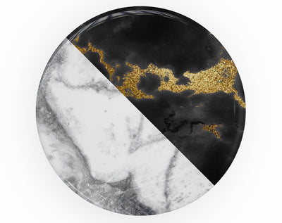 White-Black Marble & Digital Gold Foil V1 - Skin Kit for PopSockets and other Smartphone Extendable Grips & Stands