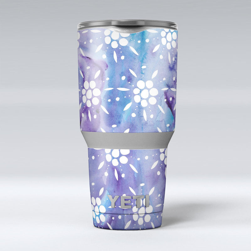 White_Abstract_Flowers_Over_Purple_and_Blue_Cloud_Mix_-_Yeti_Rambler_Skin_Kit_-_30oz_-_V1.jpg
