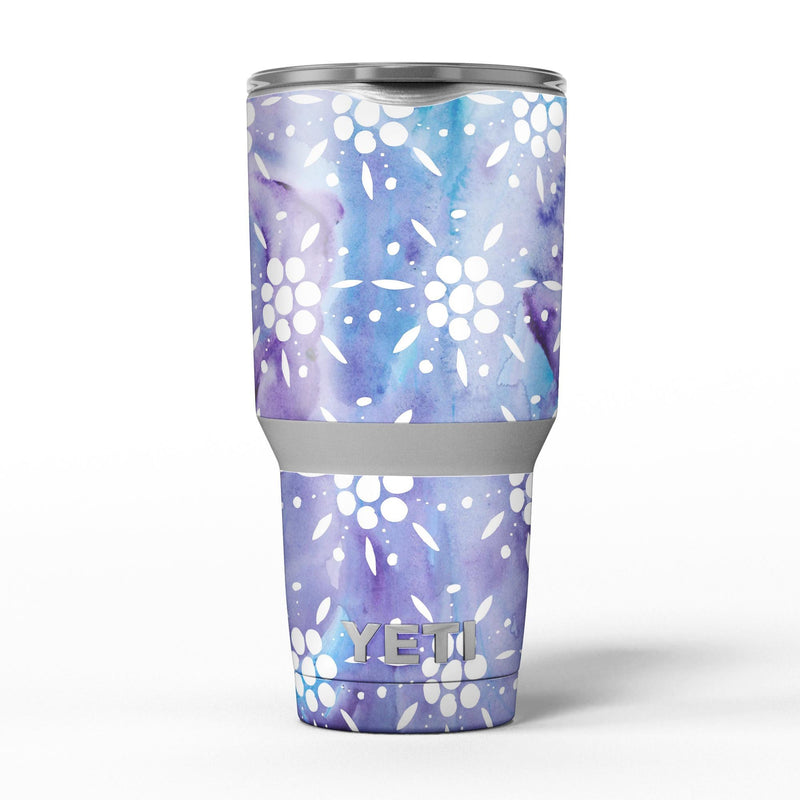 White_Abstract_Flowers_Over_Purple_and_Blue_Cloud_Mix_-_Yeti_Rambler_Skin_Kit_-_30oz_-_V5.jpg
