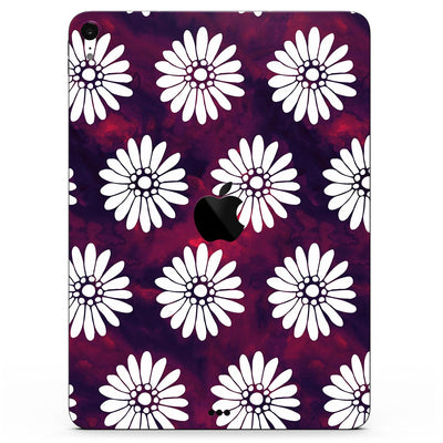 "White Floral Pattern Over Red and Purple Grunge - Full Body Skin Decal for the Apple iPad Pro 12.9"", 11"", 10.5"", 9.7"", Air or Mini (All Models Available)"