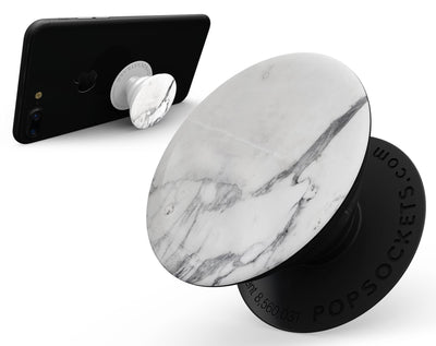 White & Grey Marble Surface V3 - Skin Kit for PopSockets and other Smartphone Extendable Grips & Stands