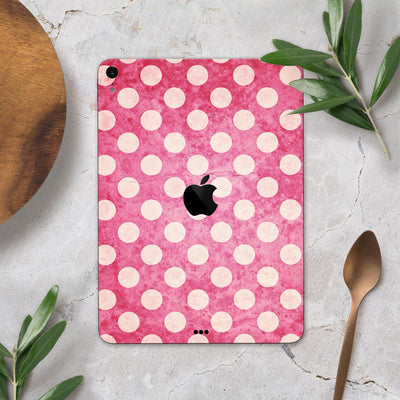 "White Polka Dots Over Grungy Pink  - Full Body Skin Decal for the Apple iPad Pro 12.9"", 11"", 10.5"", 9.7"", Air or Mini (All Models Available)"
