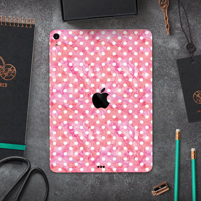 "White Polka Dots Over Pink Watercolor Grunge - Full Body Skin Decal for the Apple iPad Pro 12.9"", 11"", 10.5"", 9.7"", Air or Mini (All Models Available)"