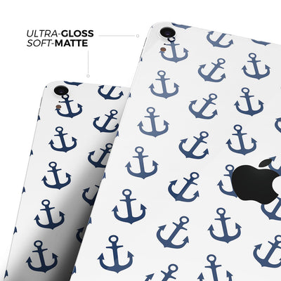 "White and Navy Micro Anchors - Full Body Skin Decal for the Apple iPad Pro 12.9"", 11"", 10.5"", 9.7"", Air or Mini (All Models Available)"