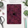 "Wine Watercolor Tiger Pattern - Full Body Skin Decal for the Apple iPad Pro 12.9"", 11"", 10.5"", 9.7"", Air or Mini (All Models Available)"