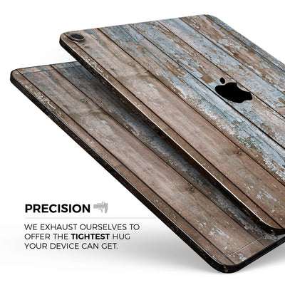 "Wood Planks with Peeled Blue Paint - Full Body Skin Decal for the Apple iPad Pro 12.9"", 11"", 10.5"", 9.7"", Air or Mini (All Models Available)"