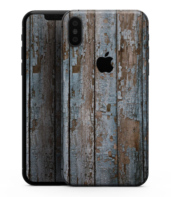 Wood Planks with Peeled Blue Paint - iPhone XS MAX, XS/X, 8/8+, 7/7+, 5/5S/SE Skin-Kit (All iPhones Avaiable)