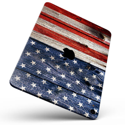 "Wooden Grungy American Flag - Full Body Skin Decal for the Apple iPad Pro 12.9"", 11"", 10.5"", 9.7"", Air or Mini (All Models Available)"