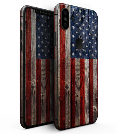 Wooden Grungy American Flag - iPhone XS MAX, XS/X, 8/8+, 7/7+, 5/5S/SE Skin-Kit (All iPhones Avaiable)