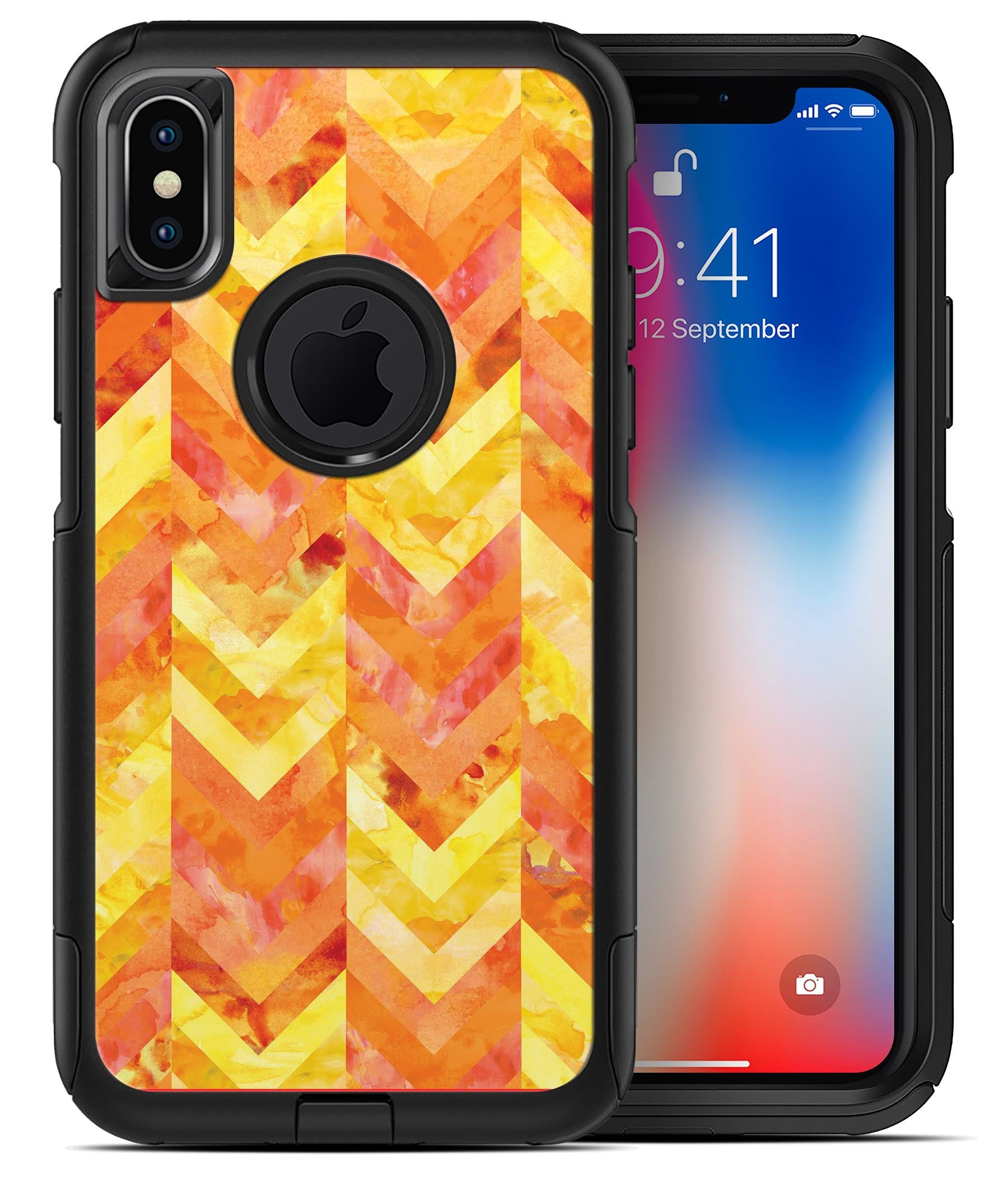 sports shoes d901c 73acc Yellow and Orange Watercolor Chevron Pattern - iPhone X OtterBox Case &  Skin Kits