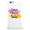 Yellow and Pink Love Never Fails iPhone 6/6s or 6/6s Plus INK-Fuzed Case