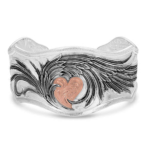 BC4394RG Rose Gold Heart Strings Feather Bracelet