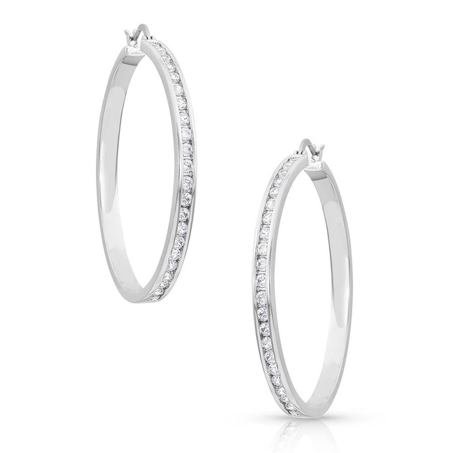 ER4399 Star Light Lined Hoop Earrings