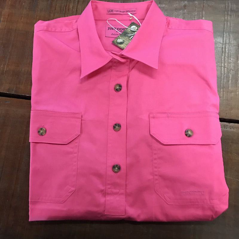 Ladies Jahna Workshirt Hot Pink - Just Country - 50505HPK