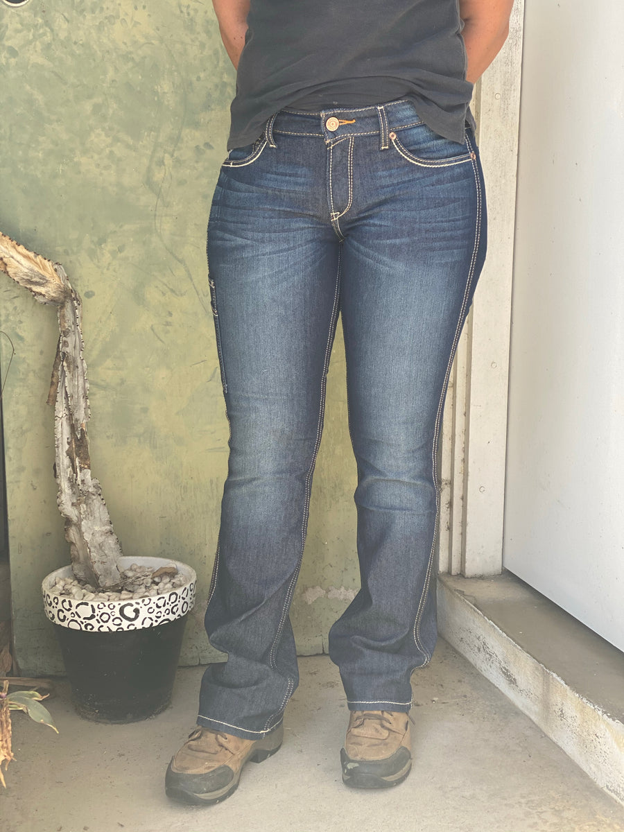 10032462 Ladies Reg Leg Rebar Mid Rise Dura Stretch Boot Cut Jean