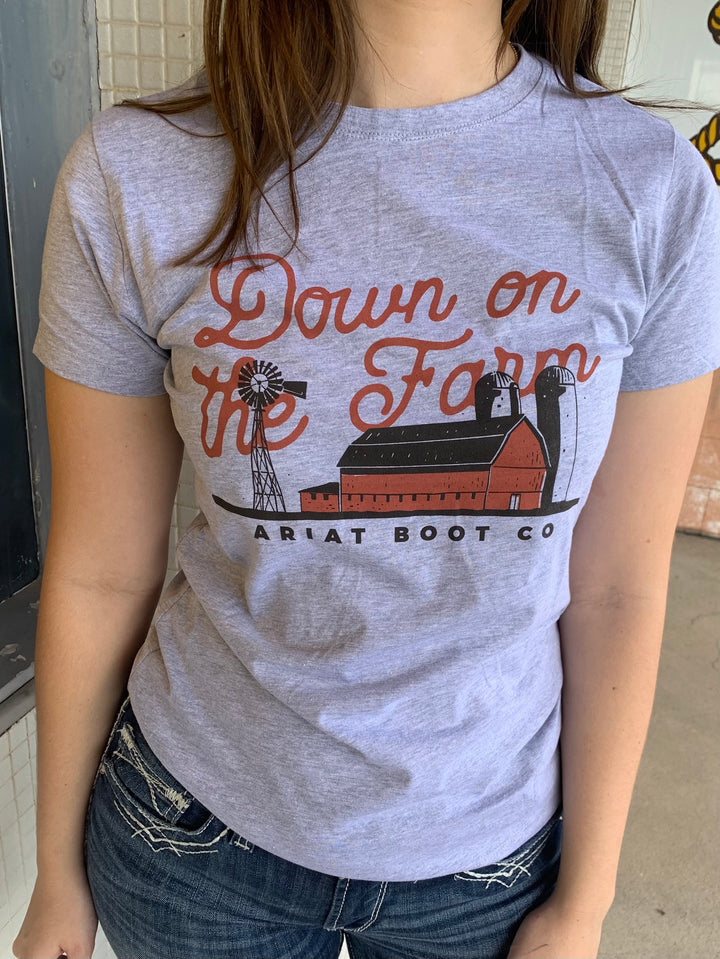 10034382 Ariat Ladies Down on then Farm Short Sleeve Tee