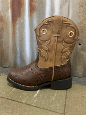 09-017-1224-2214 Boys Toddler Roper Brown Ostrich Boots
