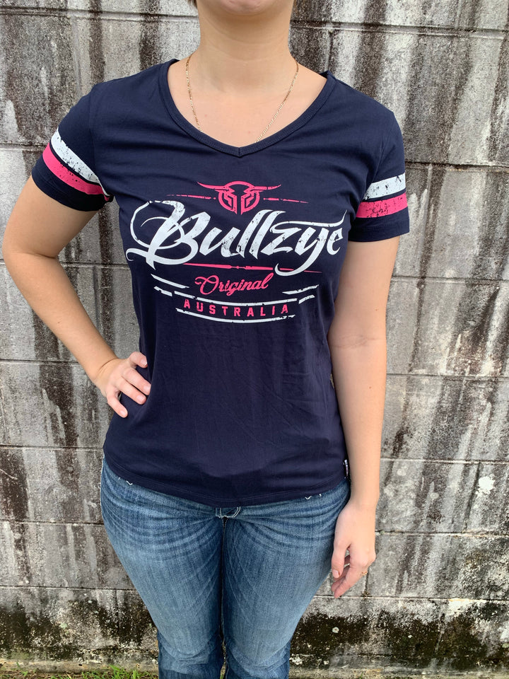 B1W2502054 Ladies Bullzye Captured V-Neck Tee Navy