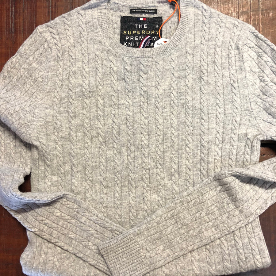 Grey Marle Luxe Mini Cable Knit - Superdry - 1D75KG