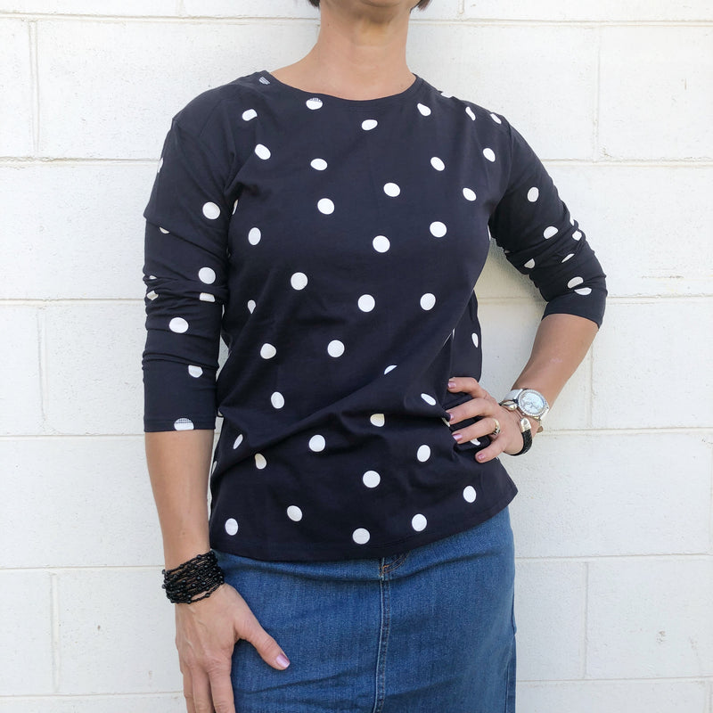 Navy / White Spot Raglan Top