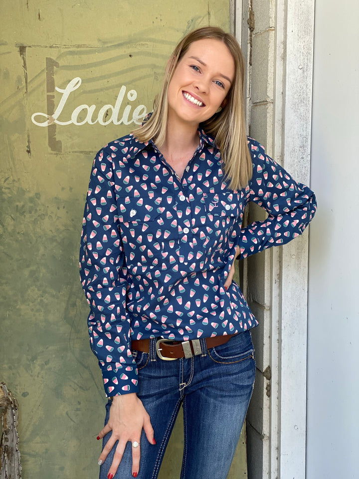 WWLS2034 WOMENS GEORGIE HALF BUTTON PRINT WORKSHIRT JUST COUNTRY