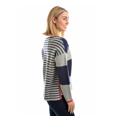 T9W2503078 Ladies Block Striped Jumper
