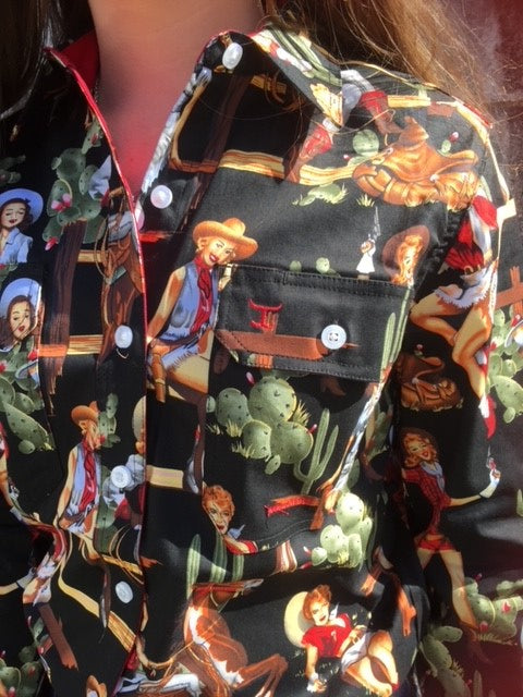 WWLS2134 Just Country Abbey Full Button Print Workshirt Black/Chilli Vintage Rodeo