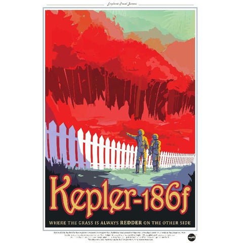 "NASA Travel Series - Kepler 186f 13""x19"" Poster"
