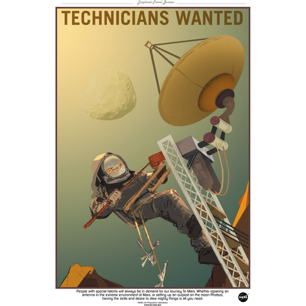 "NASA - Mars Series - Technicians Wanted - 13""x19"" Poster"