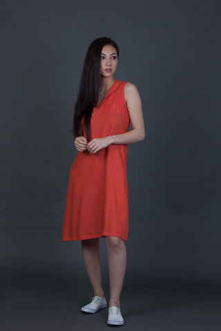 Coral Slip in Shift Dress