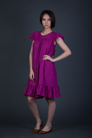 Pretty Magenta Ruffle Dress
