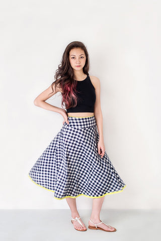 Gingham Bias Skirt