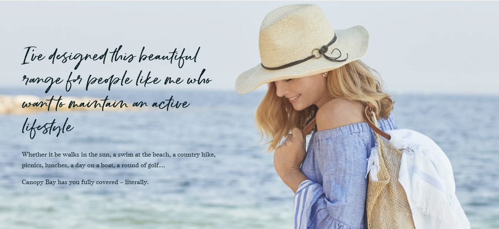 Canopy Bay by Deborah Hutton Sunt Hats for an active Lifestyle